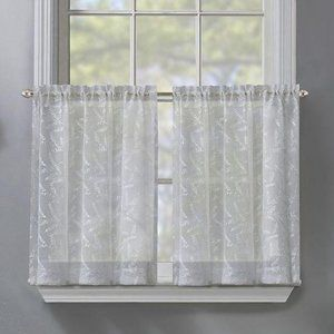 Sheer Window Curtain Tiers Panels White 36″L x 25″